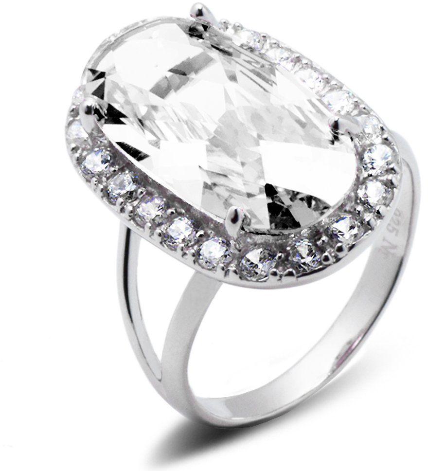 Srebrny Pierścionek z Dużym Białym Kamieniem - Bezbarwny