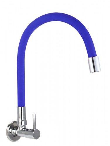 Bateria /zawór na zimną wodę ścienna niebieska indygo FLEXI