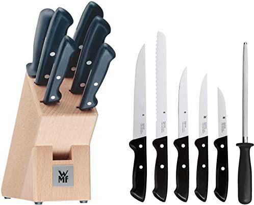 WMF Classic Line blok do noży z zestawem noży, 7-częściowy, z wyposażeniem, 5 noży, 1 ostrzałka, 1 blok z drewna bukowego, specjalna stal ostrza, czarny