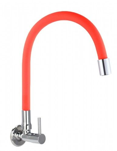 Bateria /zawór na zimną wodę ścienna czerwona FLEXI