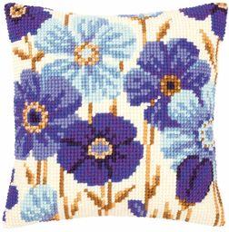 Vervaco niebieskie kwiaty haft krzyżykowy poduszka, wielokolorowa