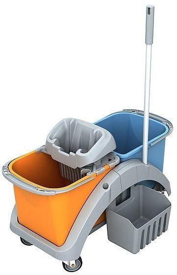 Wózek do sprzątania dwuwiadrowy Splast TS2-0017 z pionową rączką i koszykiem