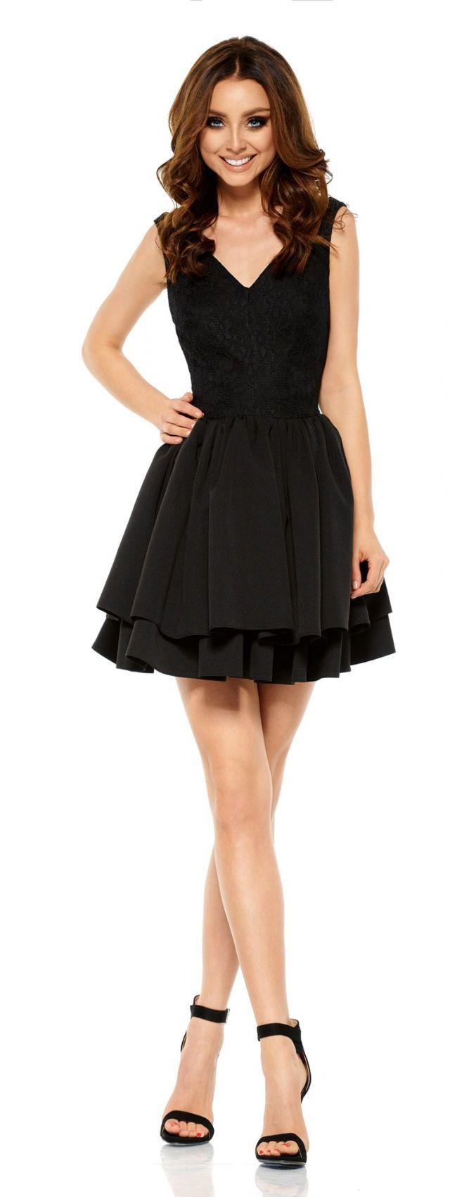 Wieczorowa sukienka mini z koronką L260 czarny