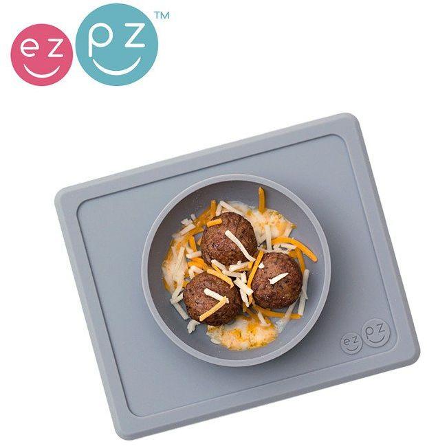 EZPZ Silikonowa miseczka z podkładką 2w1 Mini Bowl szara EUMBG005- EZPZ, naczynia dla dzieci