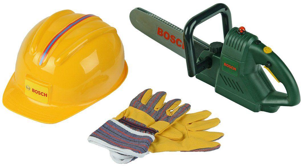 Theo Klein 8435 piła łańcuchowa Bosch z kaskiem i rękawiczkami, zabawka