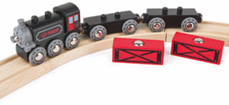 Hape E3717 Steam-Era kolejnia towarowa - drewniane akcesoria do torów kolejowych