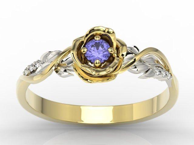 Pierścionek złoty w kształcie róży z tanzanitem i brylantami lp-7715zb
