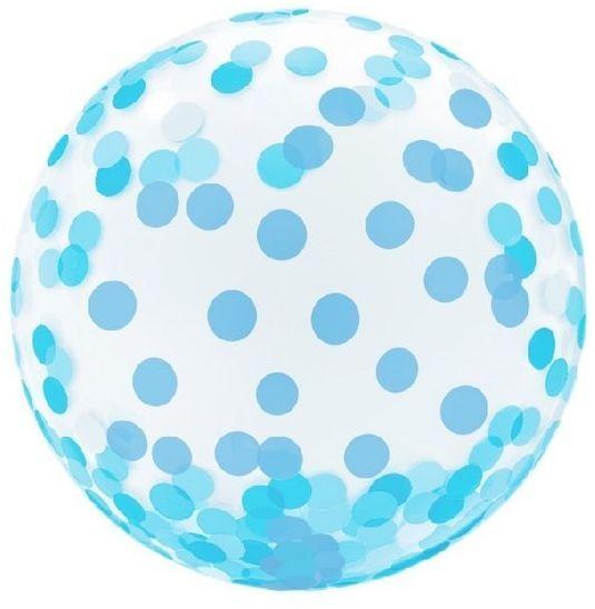 Balon kryształowy w niebieskie grochy okrągły 36 cm KR-18NG