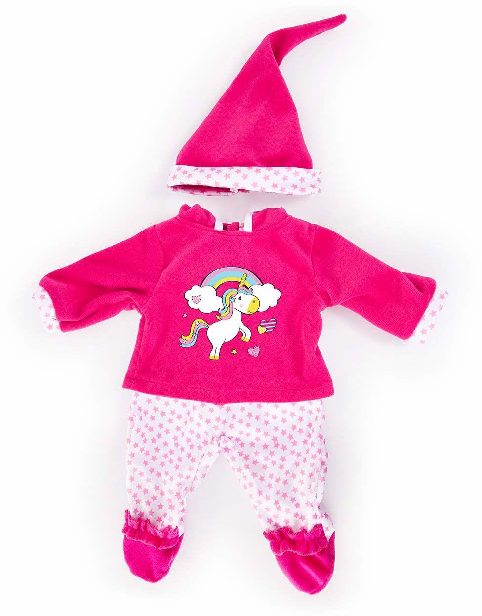 Bayer Design 83890AA odzież dla lalek, spodni, topu i czapki, zestaw, strój z jednorożcem