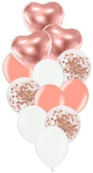 Zestaw balonów słupek różowe złoto i białe 12 sztuk SL11