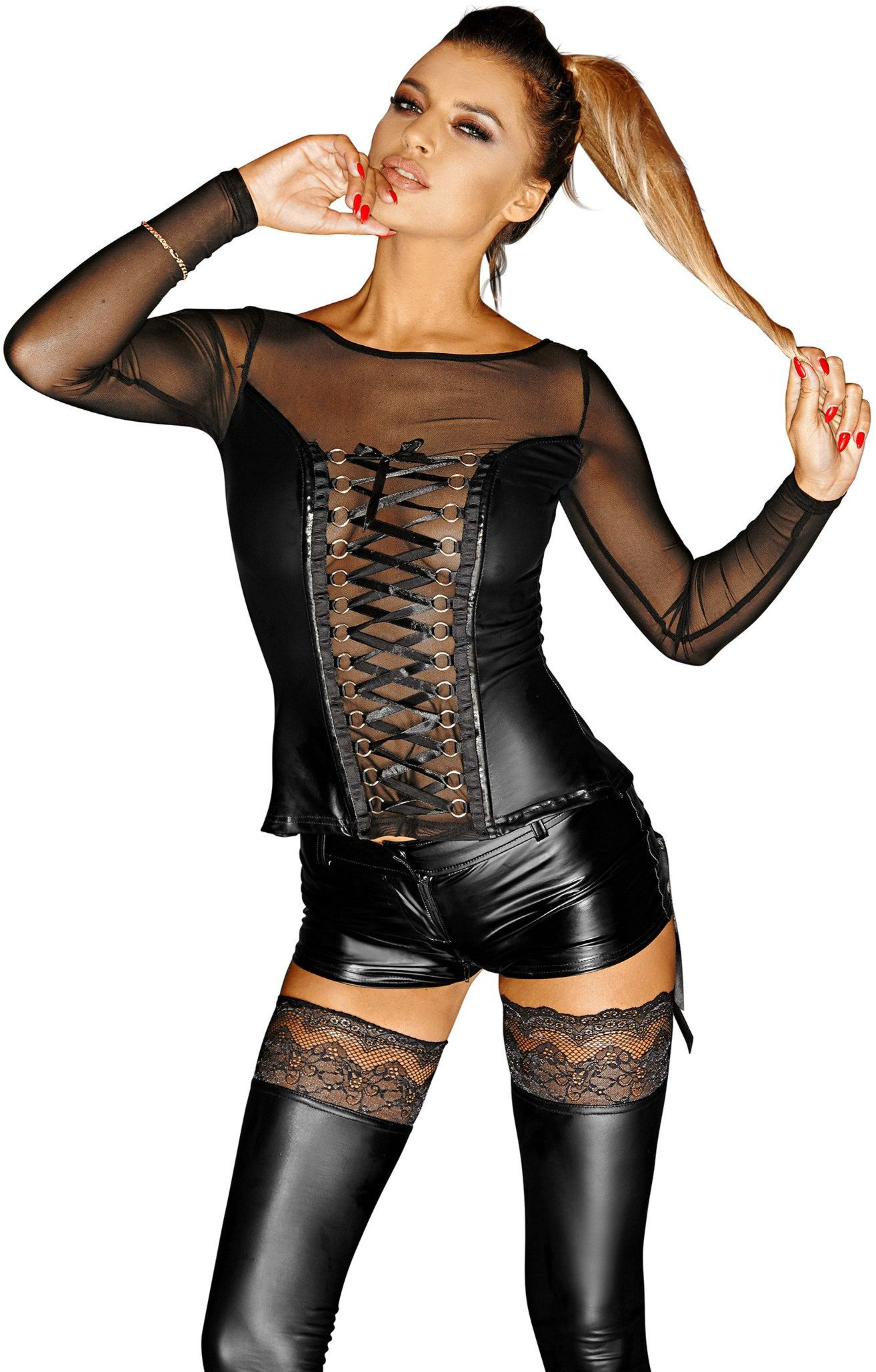Noir Handmade F130 Powerwetlook Corsage Top with Long Sleeves, Lacing and Tull Inserts Narcissist XL