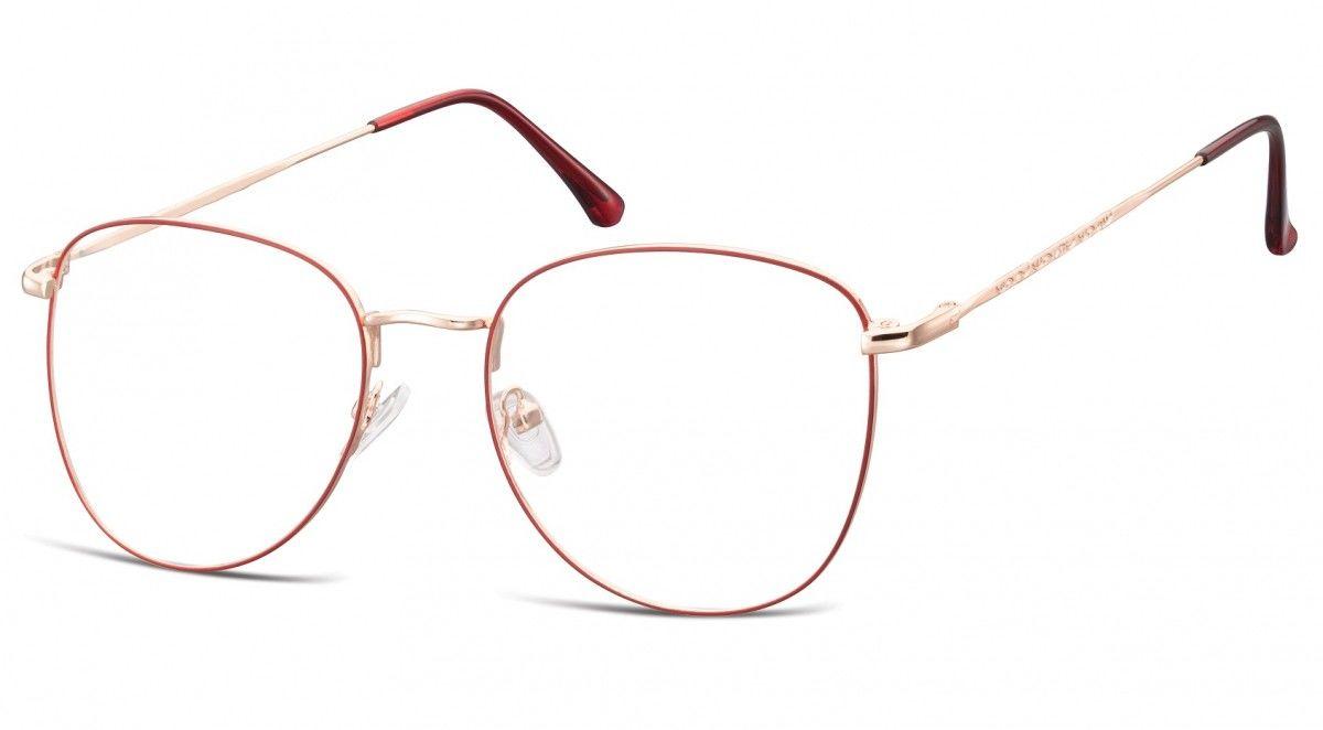 Oprawki okulary Pilotki zerówki korekcyjne 924 czerwono-złote