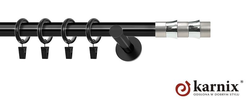 Karnisze nowoczesne NEO pojedynczy 19mm Fresno czarny