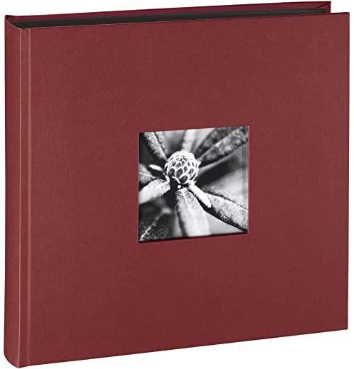 Hama Album fotograficzny Jumbo 30 x 30 cm (album ze 100 czarnymi stronami, album na 400 zdjęć do samodzielnego ozdobienia i wklejania) bordowy