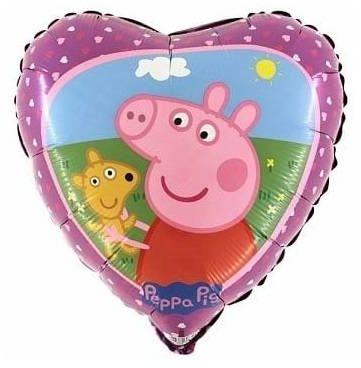 Balon foliowy serce Peppa ok. 45 cm 1sztuka L18031