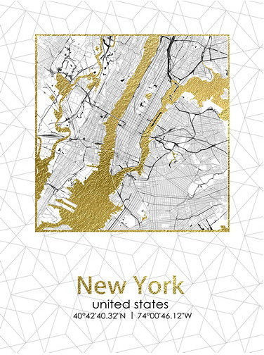 Obraz 45x60x1,8cm PLAN MIASTA NEW JORK