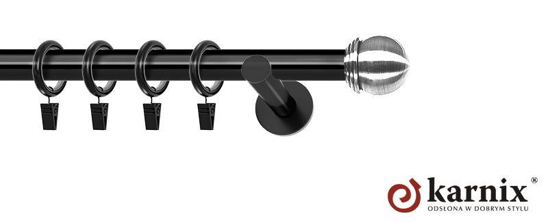 Karnisze nowoczesne NEO pojedynczy 19mm Gałka Max czarny
