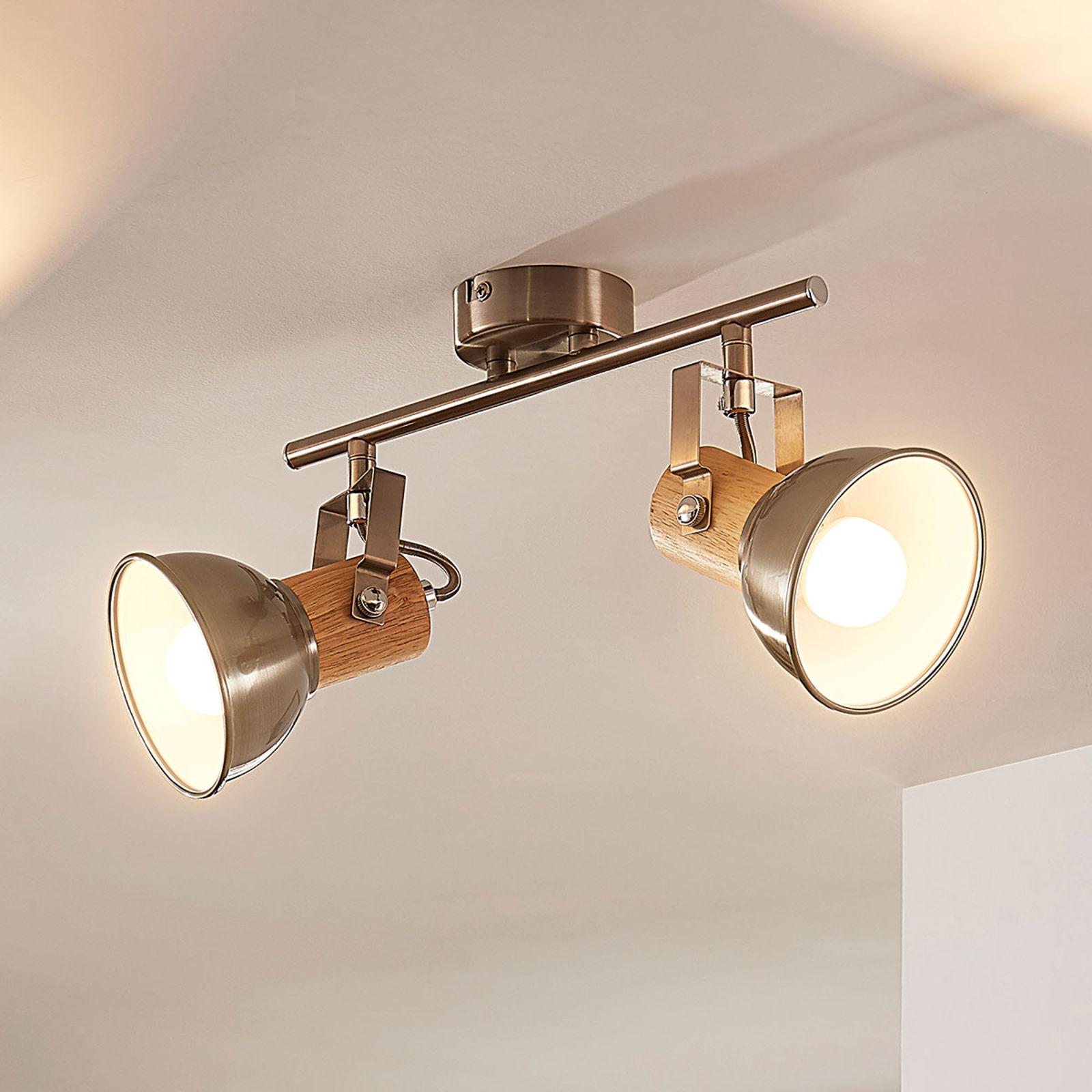 Lampa sufitowa LED Dennis, 2-punktowa, z drewnem