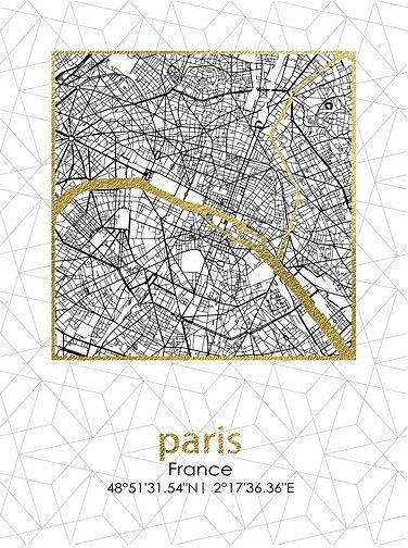 Obraz 45x60x1,8cm PLAN MIASTA PARIS