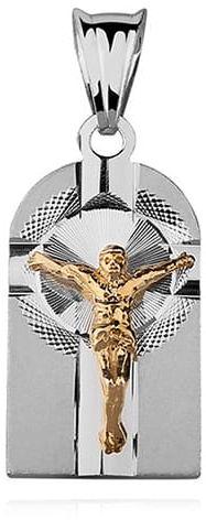 Srebrny diamentowany medalik pr.925 Jezus na krzyżu, pozłacany
