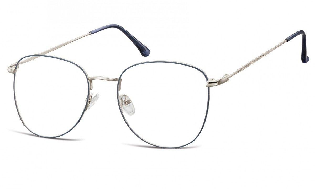 Oprawki okulary Pilotki zerówki korekcyjne 924E niebiesko-srebrne