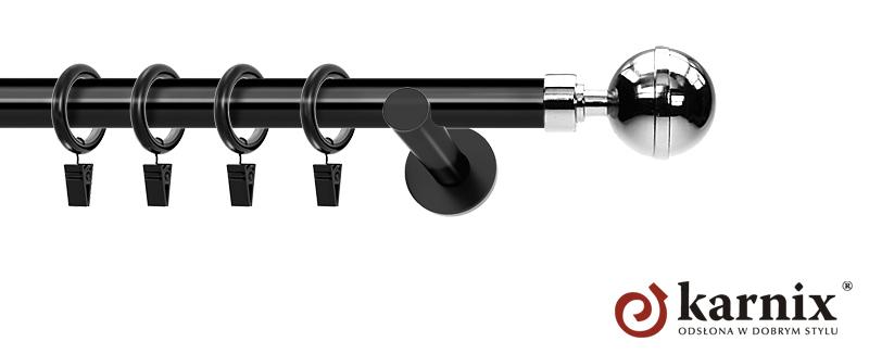 Karnisze nowoczesne NEO pojedynczy 19mm Kula Elegant czarny