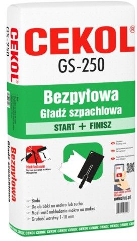 Gładź szpachlowa bezpyłowa GS-250 Cekol 20 kg