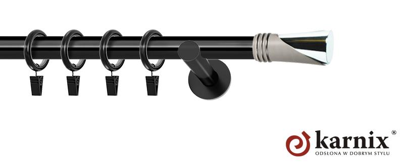 Karnisze nowoczesne NEO pojedynczy 19mm Loca czarny
