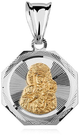Srebrny medalik Matka Boska Częstochowska, pozłacana