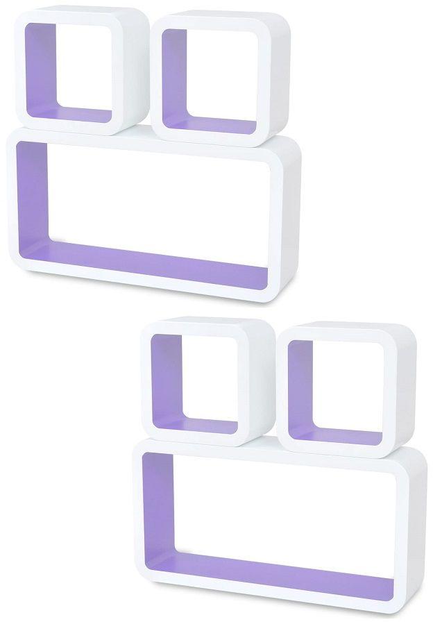 Zestaw biało-fioletowych półek ściennych - Lara 3X