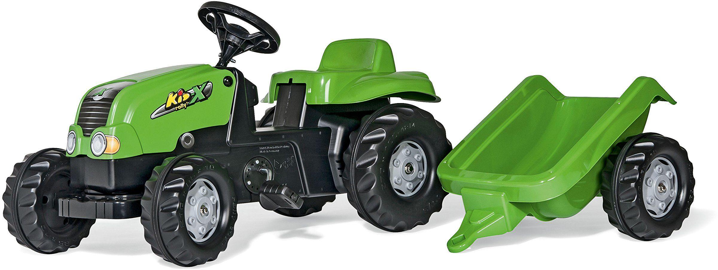 Rolly Toys rollyKid-X 012169 traktor do pedałów z przyczepą (dla dzieci w wieku od 2,5 do 5 lat, hak tylny)