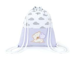 Plecak / worek bawełniany dla dzieci Chmurki szare na bieli / miś z serduszkiem w fiolecie