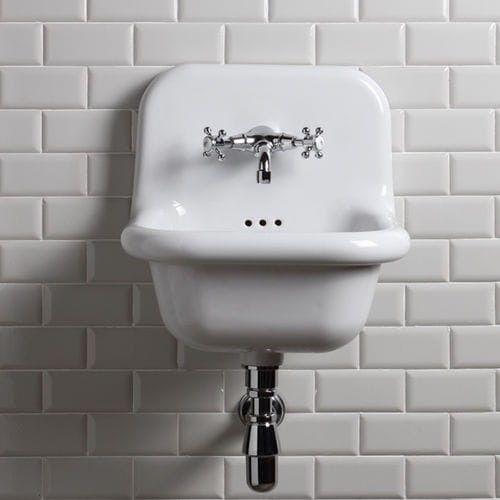 Umywalka RETRO ścienna 42x42x46,5cm kwadratowa ceramiczna biała, TRUE COLORS BLEU PROVENCE