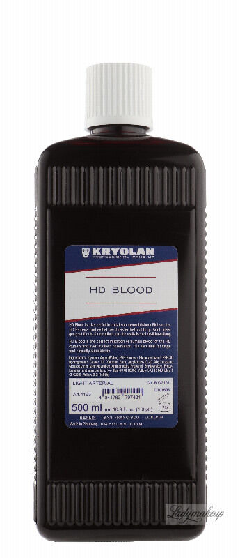 KRYOLAN - HD BLOOD - Realistyczna sztuczna krew HD - 500ml - ART. 4163 - LIGHT ARTERIAL