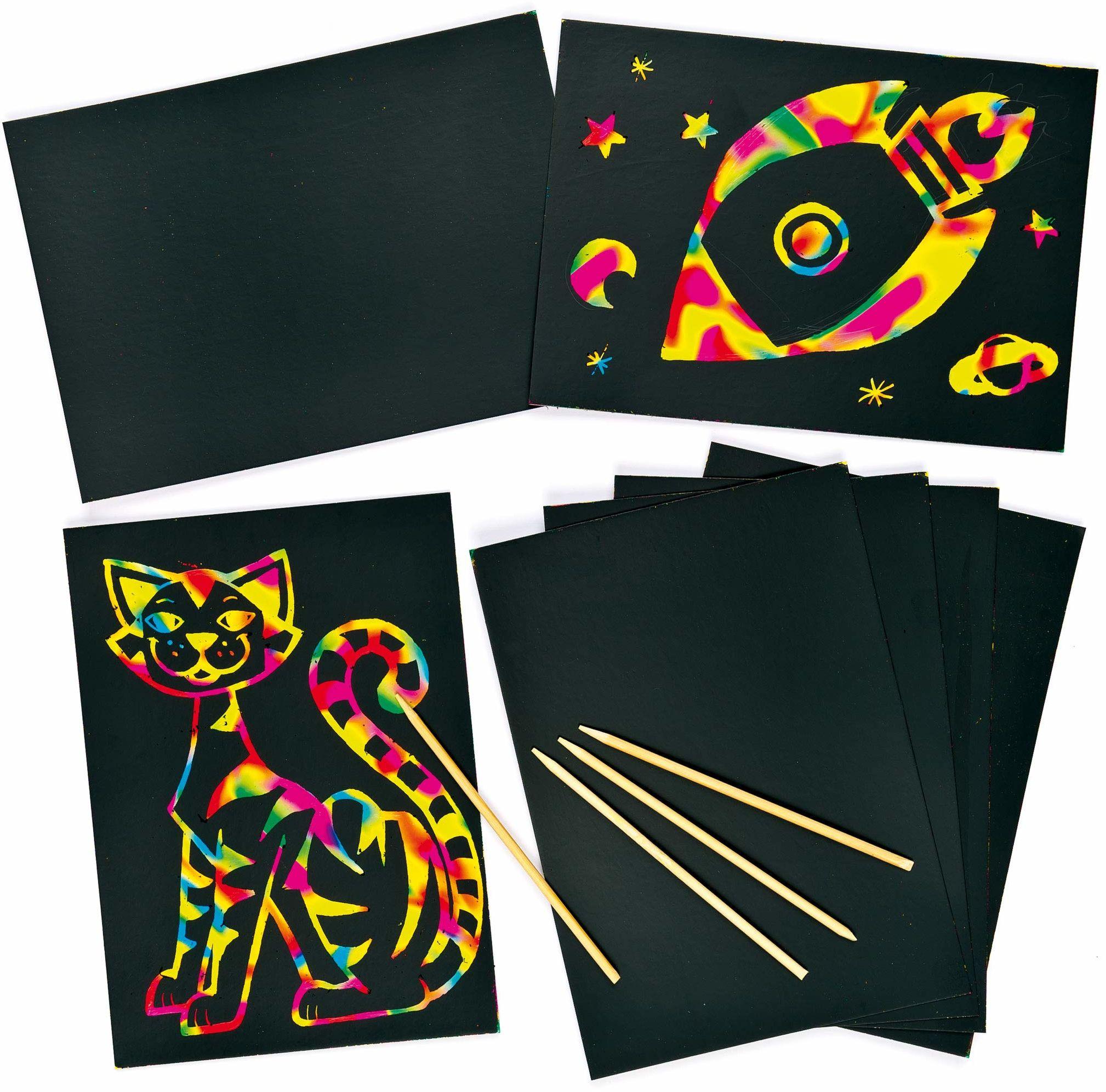 Baker Ross obrazki do zdrapywania - liście - scratch art - farba tęczowa - do drapania obrazów - świetne jako prezent - 8 sztuk
