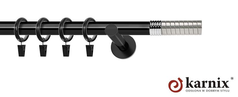 Karnisze nowoczesne NEO pojedynczy 19mm Optima czarny