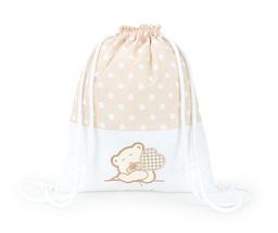 Plecak / worek bawełniany dla dzieci Groszki beżowe / miś z serduszkiem brąz z białym