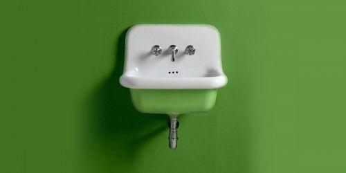Umywalka RETRO ścienna 60x42x49cm ceramiczna biały wewnątrz+kolor na zewnątrz, TRUE COLORS BLEU PROVENCE
