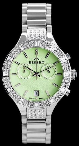ZEGAREK DAMSKI BISSET BSBE18 - silver/green (zb547a)