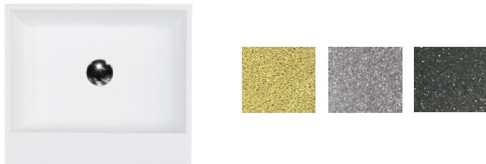 Besco umywalka nablatowa Vera Glam Srebrna 40x50x15 cm biało-srebrna UMD-V-NBS
