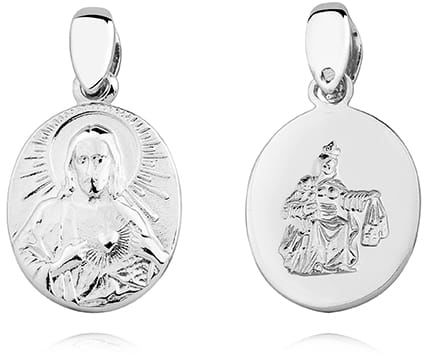 Srebrny medalik Jezus i Matka Boska Szkaplerzna