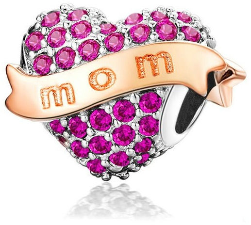 Rodowany srebrny charms do pandora serce heart mama mother mom cyrkonie srebro 925 GS230