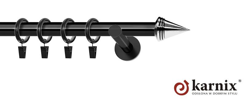 Karnisze nowoczesne NEO pojedynczy 19mm Stożek czarny