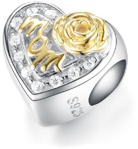 Rodowany srebrny charms do pandora serce heart mama mother mom cyrkonie srebro 925 GS135