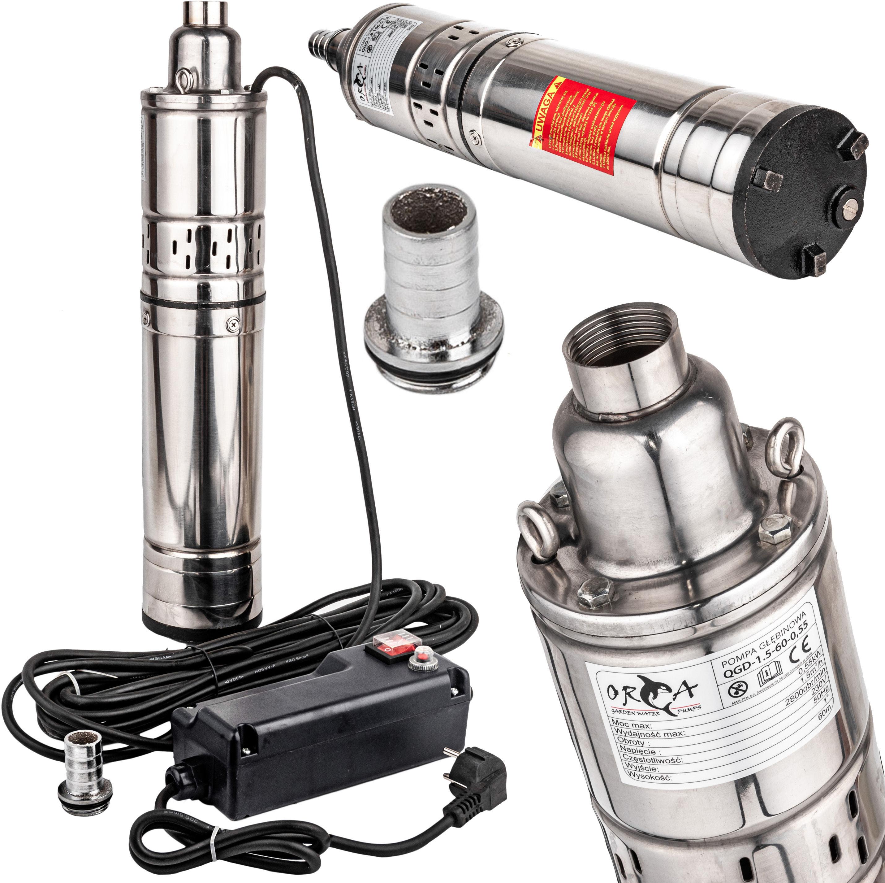 Pompa głębinowa do wody śrubowa 550W 1,5 m3/h 60m GEKO