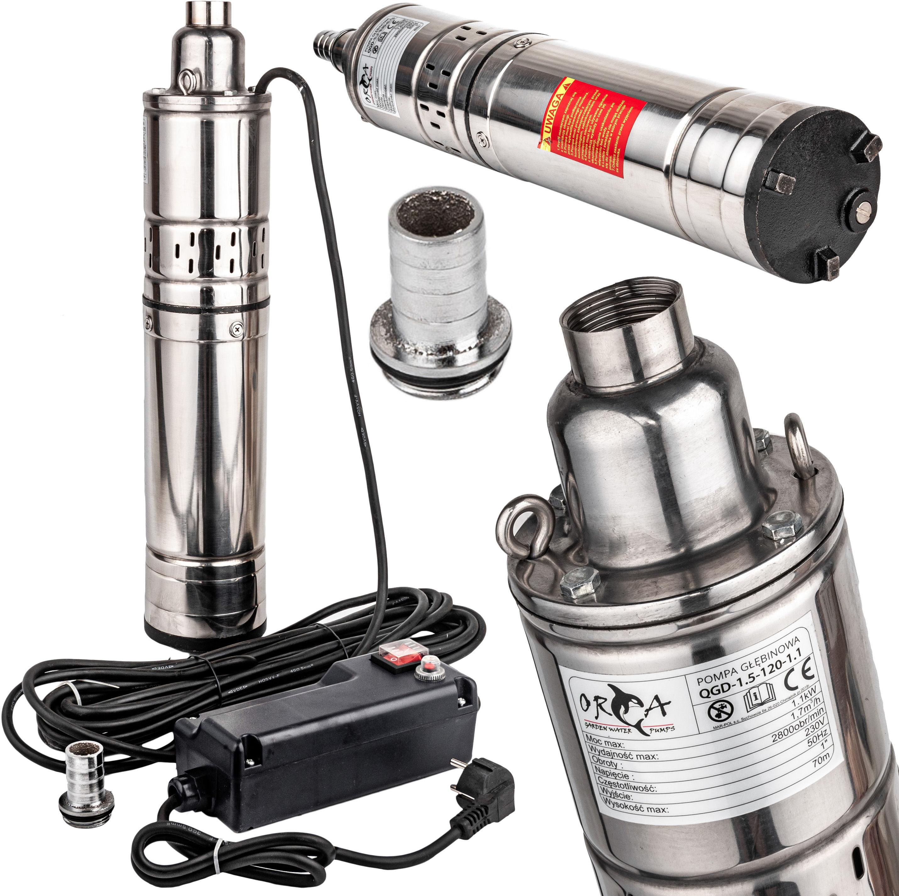 Pompa głębinowa do wody śrubowa 750W 1,6 m3/h 65m GEKO