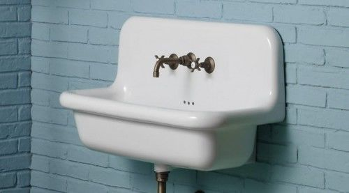 Umywalka RETRO ścienna 90x42xm49cm ceramiczna biała, TRUE COLORS Bleu Provence