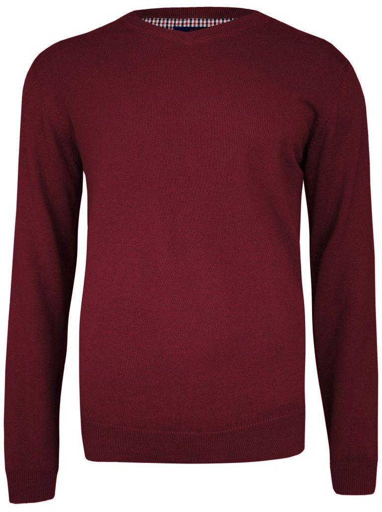 Sweter Ciemny Czerwony w Serek (V-neck), Klasyczny -Adriano Guinari- Męski SWADGAW20redorche