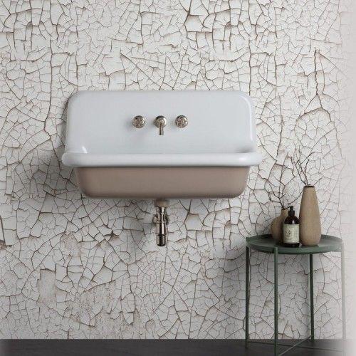 Umywalka RETRO ścienna 90x42x49cm ceramiczna biały wewnątrz+kolor na zewnątrz, TRUE COLORS Bleu Provence