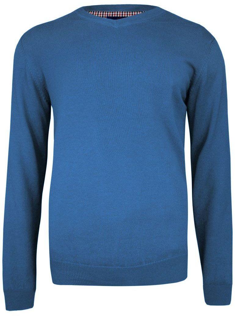 Sweter Niebieski Elegancki w Serek (V-neck), Klasyczny -Adriano Guinari- Męski SWADGAW20faience
